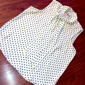 Twine and string polka dots top with a neck tie